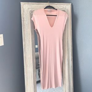 Light pink V neck ribbed dress